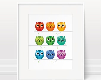 Rainbow nursery - Owl print, nursery decor, new baby gift