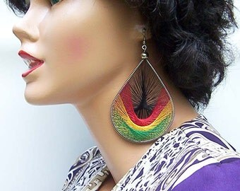 Rasta Peruvian Thread Earrings. Handmade.Extra Large. 4 inches.