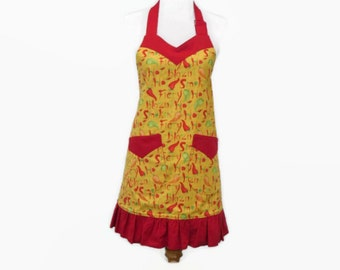 Women's Chili Peppers Apron, Apron and Tea Towel Gift Set, Red & Yellow Ruffled Apron, Apron with Chili Peppers, Chili Cooking Gift
