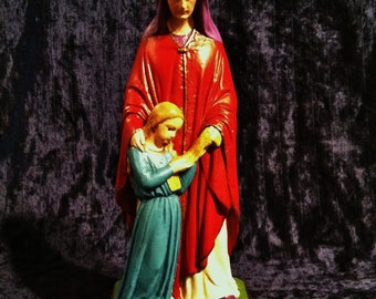 Rare Vintage Chalkware Saint Anne And The Young Virgin Mary