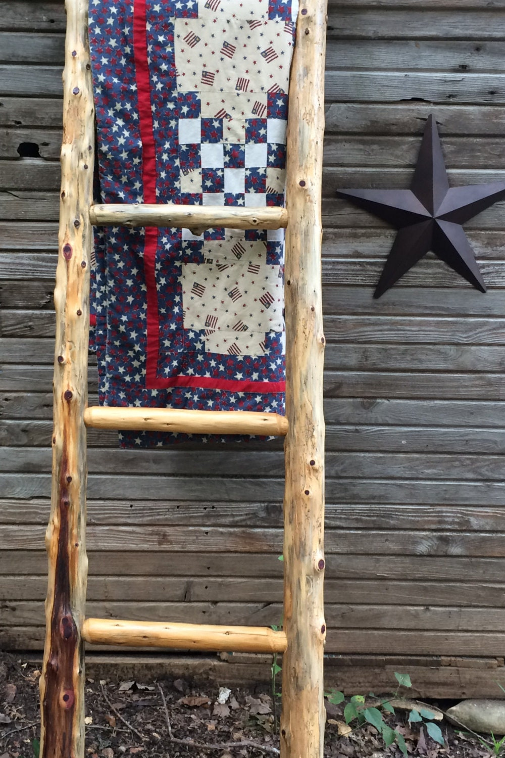 Log Quilt Ladder Rack - Quilt Display - Rustic Quilt Rack - Rug ... : quilt display ladder - Adamdwight.com