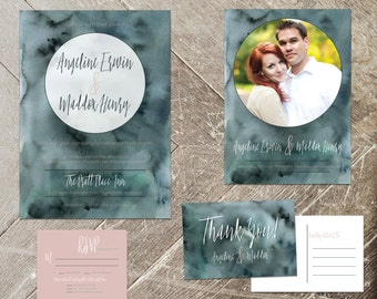 Indigo Wedding Invitation Set, Minimalist Watercolor Stationery Suite, Invite, RSVP, Save the Date, Thank You Card