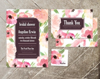 Spring Floral Bridal Shower Invitation Kit, Pink Watercolor Roses Invitation, Thank You Card, Gift Tag