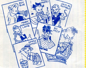 1950's Darling Hand Embroidery Transfer Patterns - Six (6) Vintage Nursery Rhymes - Instant Download