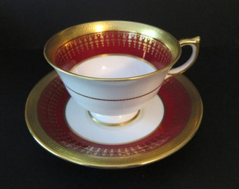 AYNSLEY Hertford Maroon (Smooth) Footed Cup and Saucer Set by John Aynsley, Fine English Bone China, ENGLAND, EST 1775, Pattern 7081