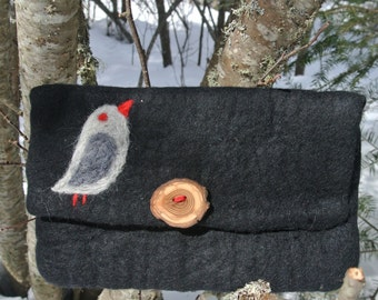 Bird Felted Black Clutch Purse