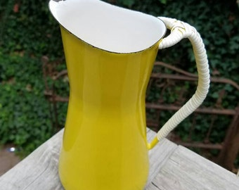 Reduced! Vintage Yellow Enamel Dansk Kobenstyle Pitcher by Jens Quistgaard,Small Jug with Rattan Wrapped Handle, Circa 1960s