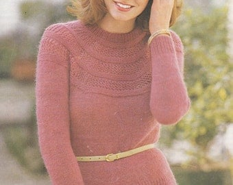 PDF pretty lacy yoke sweater vintage knitting pattern 32 -40 inches double knitting pdf INSTANT download pattern only