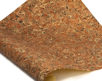 Hand-Marbled Paper Imported From Italy - Curled Stone - Browns