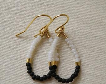 Black and White Loop Earrings