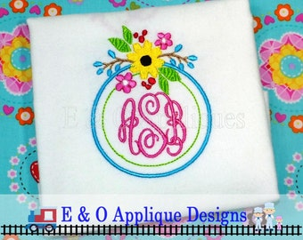 Floral Monogram Embroidery Frame Design - 4 sizes included - Floral Machine Embroidery Design