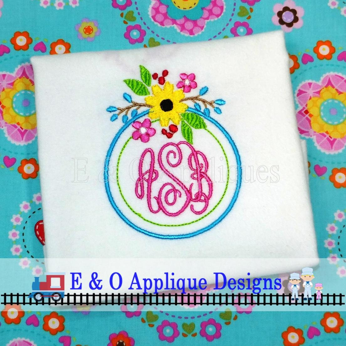 Floral monogram embroidery frame design sizes included