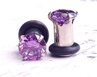 Purple Prong Set C.Z. Plugs (4G)