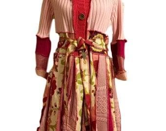Pink Sweater Coat -M