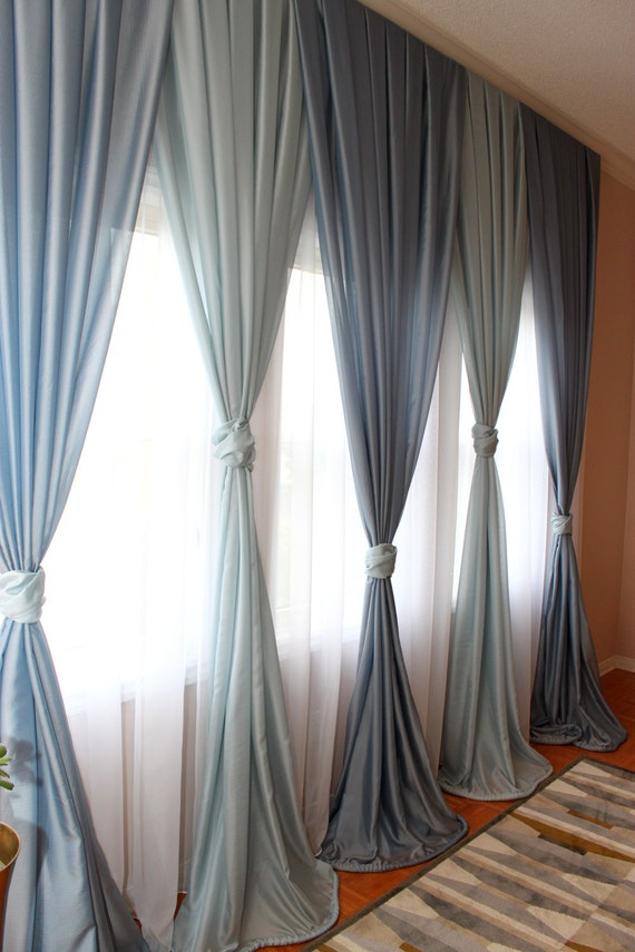 Items Similar To Free Shipping Inverted Pleated Voile Drapery Blue Window Sheers Sheer