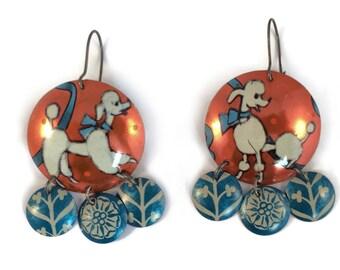 Recycled Tin Earrings - French Poodle Earrings - Blue and Orange Gypsy Earrings - Kitschy Earrings
