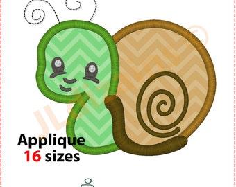Snail Applique Design. Snail embroidery design. Embroidery applique snail. Baby snail embroidery applique. Machine embroidery design.