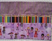 The Rollup for Coloring, Coloring Book, Colored Pencil Rollup, Pencil Roll Up, FREE SHIP Art Pencil Roll, Hip Chicks, Tea Coffee Pencil Roll