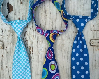 Boys Tie - Neck Tie - Newborn Tie - Baby Neck Tie - Blue Neck Tie - Polka Dot Tie - Wedding Tie - Toddler Neck Tie - Spring Tie - Easter Tie