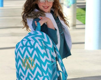 Monogrammed Turquoise Chevron School Size Backpack Bookbag - Embroidered Name or Initials