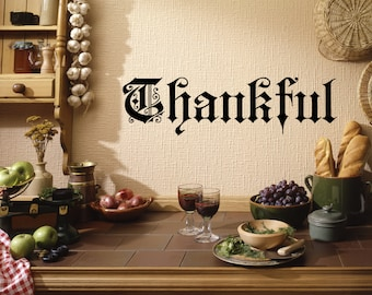 Thankful Decal, Thanksgiving Decal, Wall Decal, Old English, Holiday Party, Thankful, Thanksgiving, Fall, Autumn, Give Thanks, Holiday Decal