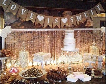 Wedding Decor- Love is Sweet Banner- Rustic Wedding- Photo Prop- Dessert Table Sign- Rustic Wedding Decor- Wedding Signage