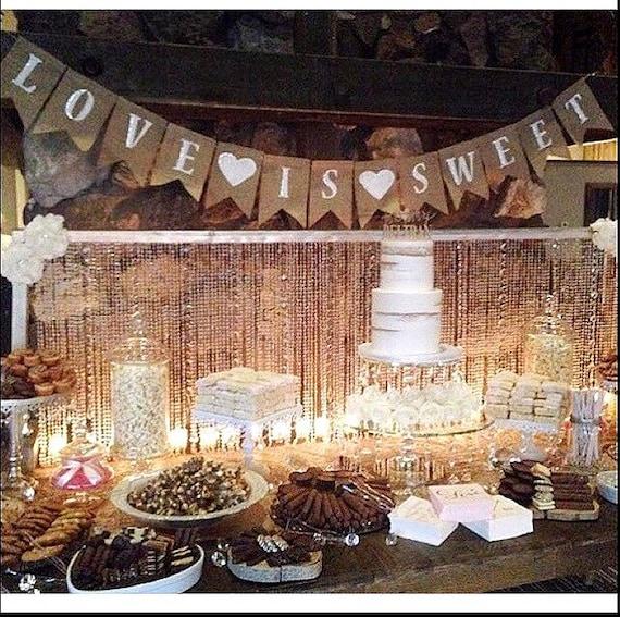25 Sweet And Romantic Rustic Barn Wedding Decoration Ideas: Wedding Decor Love Is Sweet Banner Rustic Wedding Photo