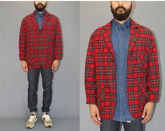 Pendleton Wool Red Plaid Blazer Jacket Vintage Pendleton Jacket Pendleton Blazer Pendleton Plaid Jacket - Large