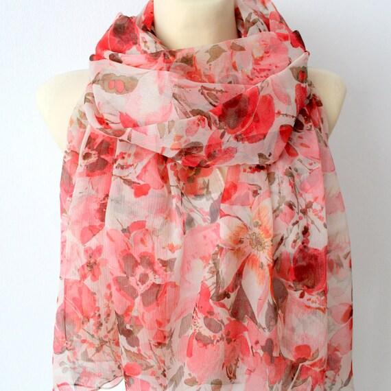 Silk Chiffon Scarf - Designer Silk Scarf - Red Chiffon Scarf - Floral Silk Scarf - Printed Silk Scarf - Elegant Silk Scarf - Soft Silk Scarf