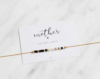 MOTHER Morse Code Necklace, Mother Morse Code Jewelry, Gift for mother, Dainty Jewelry, Make a wish jewelry, Gift for her, Birthday gift