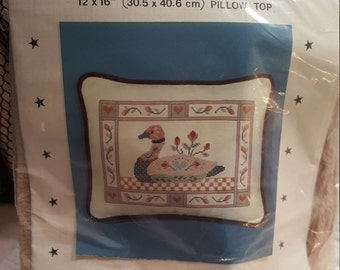 "DIY (12""x 16"") Cross Stitch Pillow kit ""Duck Chintz"" By: Ann Benson LTD/Counted Cross Stitch in Wool on Cotton/New Un-Opened (Pillow Top)"