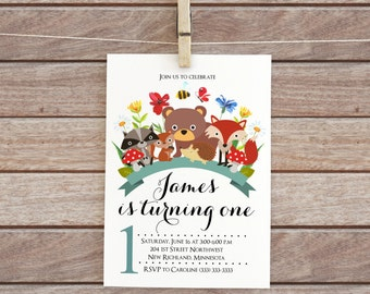 Forest animals party, Woodland birthday invitation, baby boy printable, rustic digital floral design animal Personalized Invitation party 95