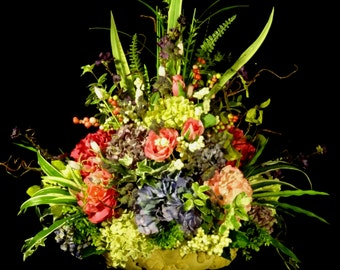 Tuscan Silk Flower Arrangement,Elegant Floral arrangement,elegant table centerpiece,floral Wedding Arrangement,Spring Arrangement