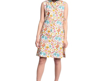 1960s Floral Cotton Shift Dress 60s Vintage Flower Print Shirt Dress Sleeveless Mod Spring Summer XS S M