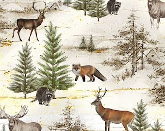 Wilderness Fabric Yardage. Moose Lodge Henry Glass. Rustic Fabric. Woodland Animal Fabric. Nature Fabric. Forest Animal Fabric Cabin Fabric