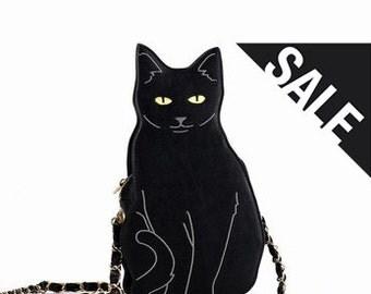 OOO  –  Black cat shoulder bag / Valentine's gift / Handmade / Lovely / Girl Friend
