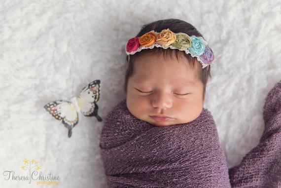 Rainbow Rosettes Baby Headband