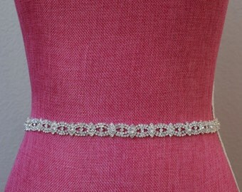 Thin Crystal Rhinestone Belt-  Bridal Belt- Rhinestone Hair Band - Bridesmaids Belt - Bridal Sash -  EYM B003