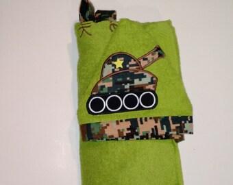 Tank Hooded Towel - Green Hooded Towel-Kids hooded towel- Toddler Hooded Towel