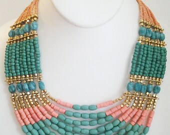 Gold, Teal and Peach Necklace / Multi Strand Necklace / Beaded Necklace.