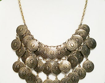 Bronze Coins Cascade Necklace / Bronze Bib Necklace
