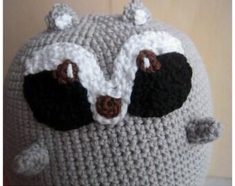 Amigurumi : Giant Animal Forest Raccoon Kawaii Crochet Cotton Handmade