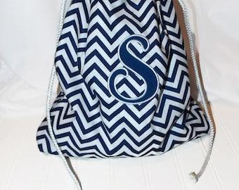 Drawstring Bag,Size Small,Chevron Cotton,Navy,Wet Bag,Eco Friendly Bag,Beach Bag,Lined Drawstring Bag, Waterproof Bag, PUL Fabric