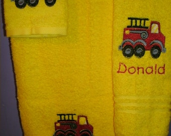 Firetruck Fireman Personalized Bath, Hand, Washcloth Towel Set Truck ANY COLOR