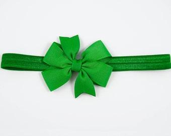 Green Bow Headband, Green Newborn Headband, Green Headband, Green Baby Headband, Green Headband, Green Elastic Headband (Item #10400)