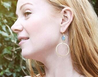 SALE 40% OFF! Aqua blue chalcedony hoop earrings