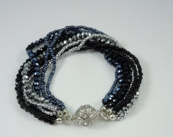 Black and Silver Crystal Multistrand Bracelet With Rhinestone Magnetic Clasp