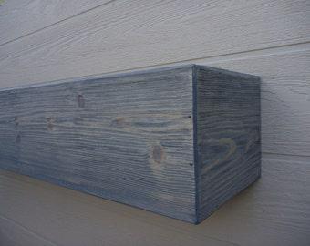"Fireplace mantel.Wood Mantel.Floating shelf.60"" Long x 5.5"" Tall x 7.5"" Deep.Gray Fireplace Mantle .Wooden Mantel.TV Shelf.Fireplace Decor"