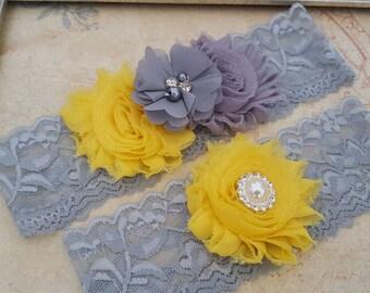 Bridal Garter Set, Yellow and Gray Bridal Garter Set, Stretch Lace Garter, Keepsake Garter, Toss Garter, Yellow and Gray Wedding Garter Set