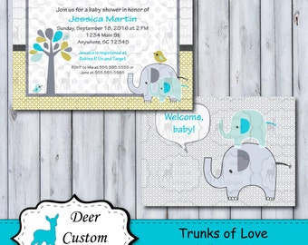 Custom Trunks of Love Baby Shower Invitation | Trunks of Love Nursery by Circo | Printable or Printed | Personal Use | Elephant Nursery Tree